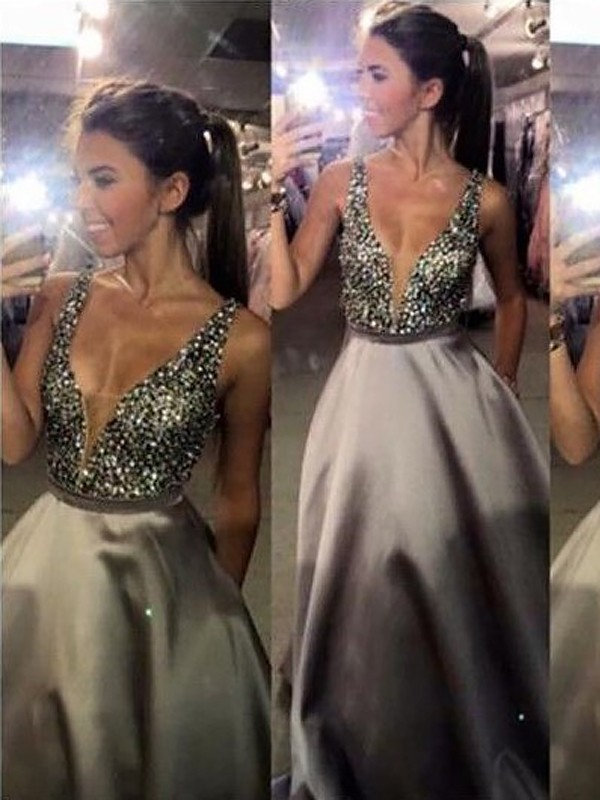 Popular A-Line V-neck Cut Satin Long Dresses With Beading