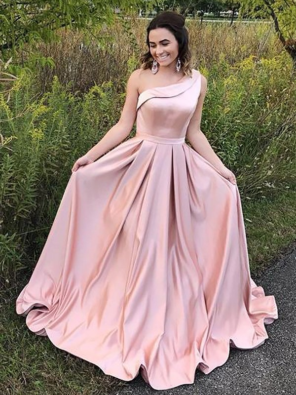 Gorgeous A-Line One-Shoulder Cut Satin Long Dresses With Ruffles