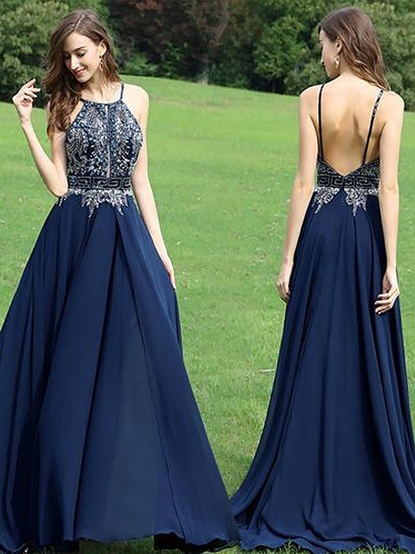 Nice A-Line Halter Cut Chiffon Long Dresses With Beading