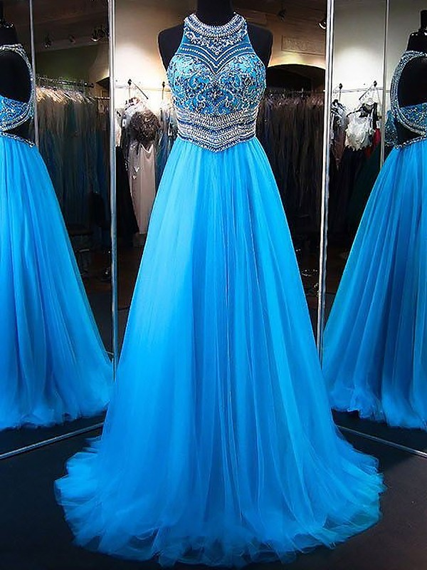 Unique A-Line Jewel Cut Tulle Long Dresses With Beading