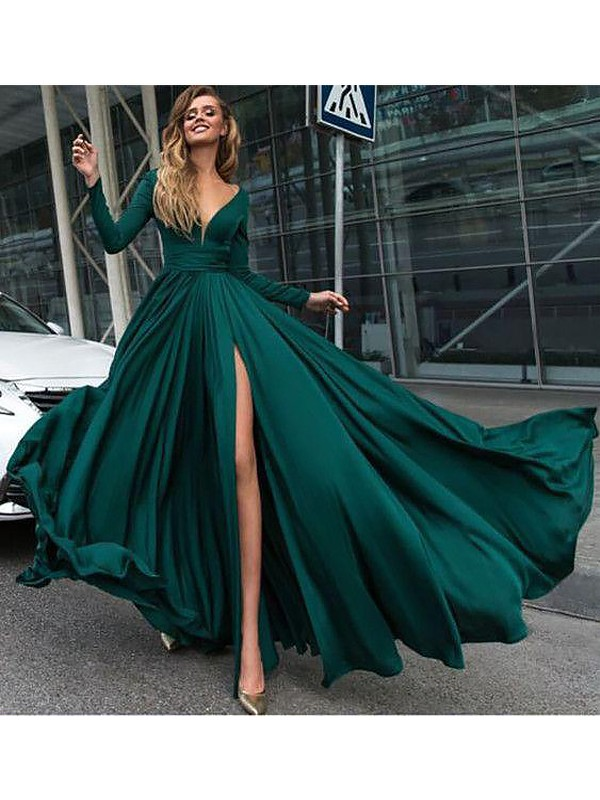 Stunning A-Line V-neck Cut Silk Like Satin Chiffon Long Dresses With Ruffles