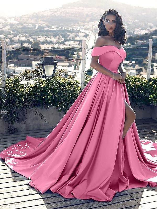 c479b01fc389 Bright A-Line Off-the-Shoulder Cut Satin Long Dresses With Ruffles