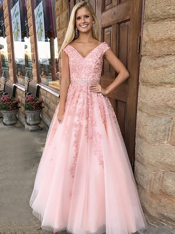 Popular A-Line V-neck Cut Tulle Long Dresses With Applique