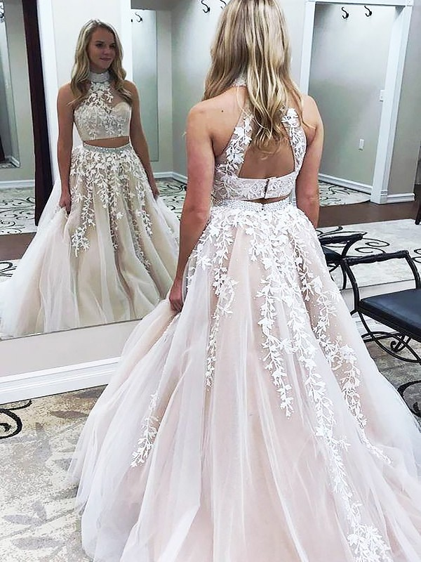 fe35415df627 Bright A-Line High Neck Cut Tulle Long Two Piece Dresses With Applique