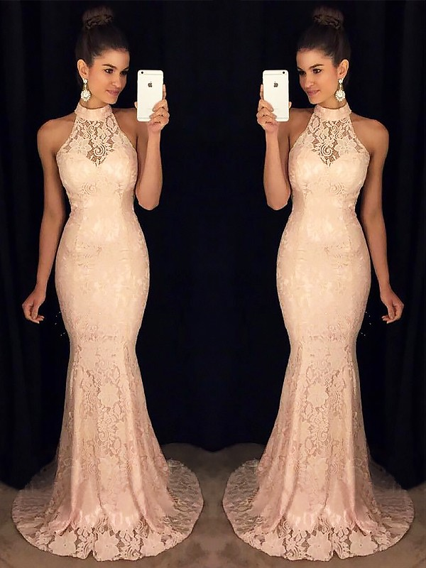 Dreamlike Mermaid High Neck Cut Lace Long Dresses With Ruffles