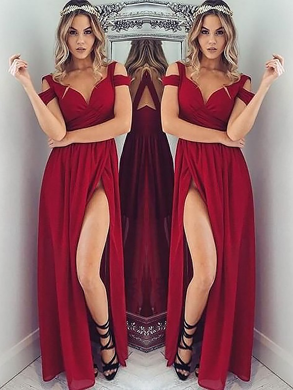 Smart A-Line Off-the-Shoulder Cut Chiffon Long Dresses With Ruched