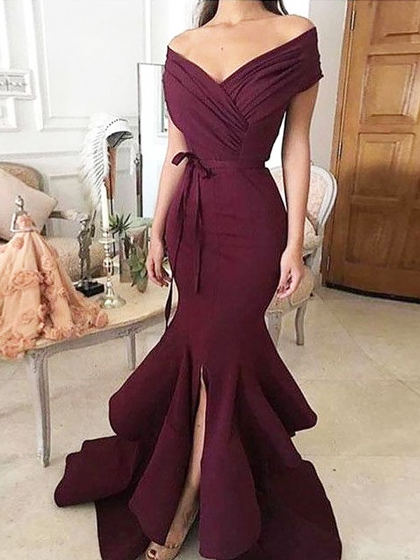 Stylish Mermaid Off-the-Shoulder Cut Satin Long Dresses With Ruched