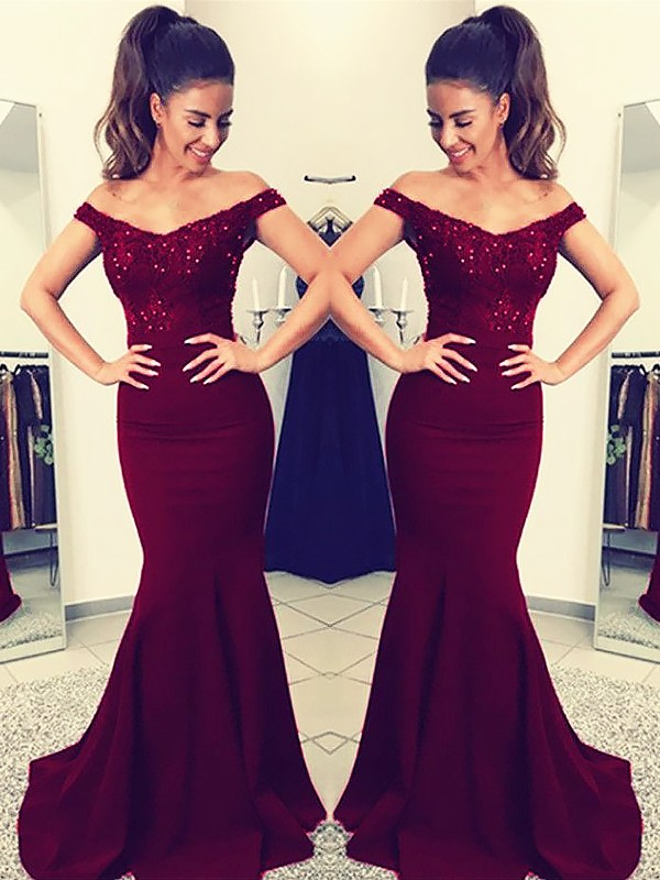 Hot Mermaid Off-the-Shoulder Cut Satin Long Dresses With Lace