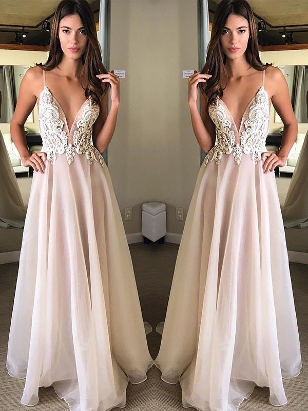 Glamorous A-Line Spaghetti Straps Cut Chiffon Long Dresses With Applique