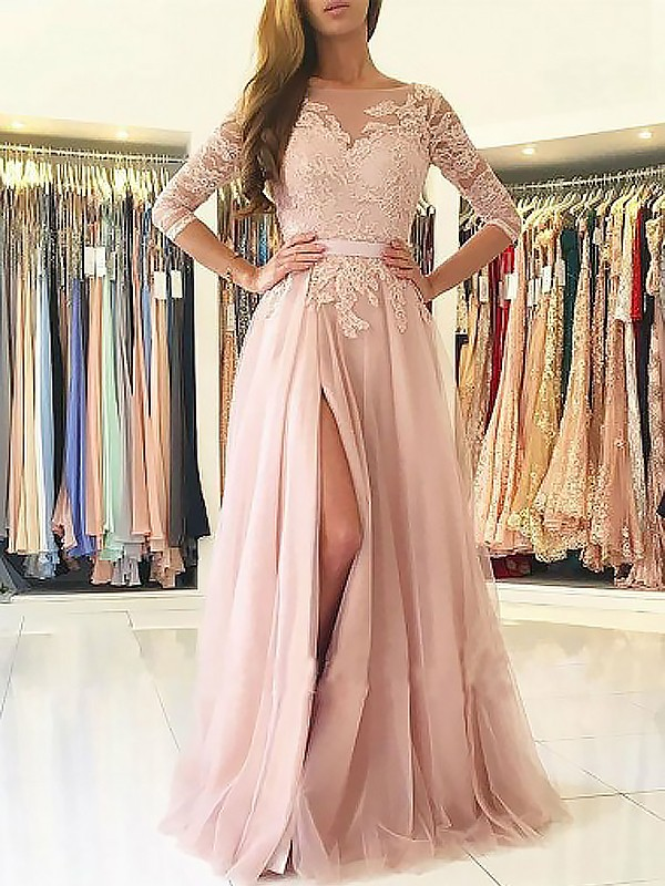 Trendy A-Line Bateau Cut Tulle Long Dresses With Applique