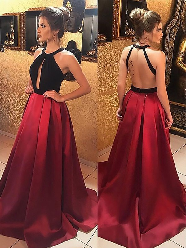 Smart A-Line Halter Cut Satin Long Dresses With Ruffles