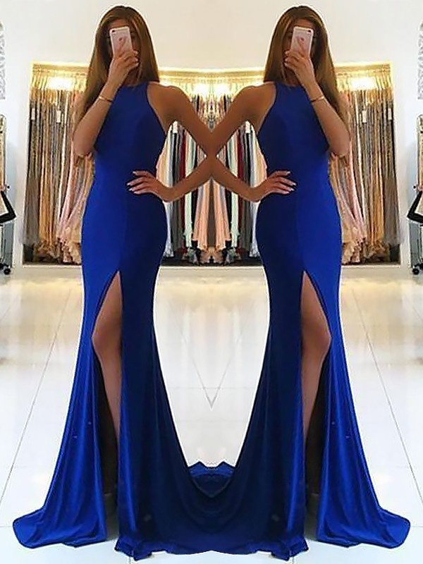 Nice Sheath Halter Cut Elastic Woven Satin Long Dresses With Ruffles