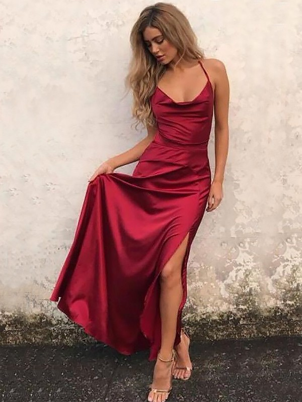 Charming A-Line Spaghetti Straps Cut Elastic Woven Satin Long Dresses With Ruffles