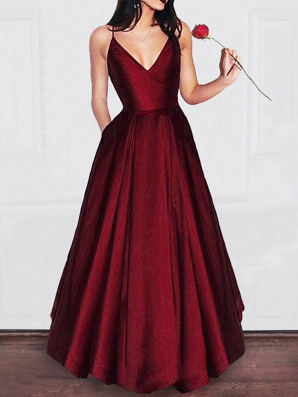 Lovely A-Line V-neck Cut Satin Long Dresses With Ruffles