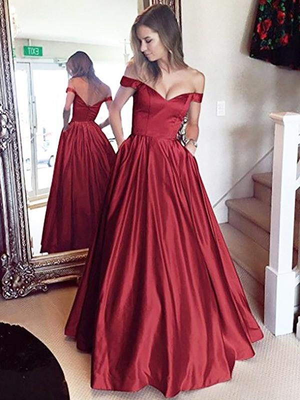 Shining A-Line Off-the-Shoulder Cut Satin Long Dresses With Beading