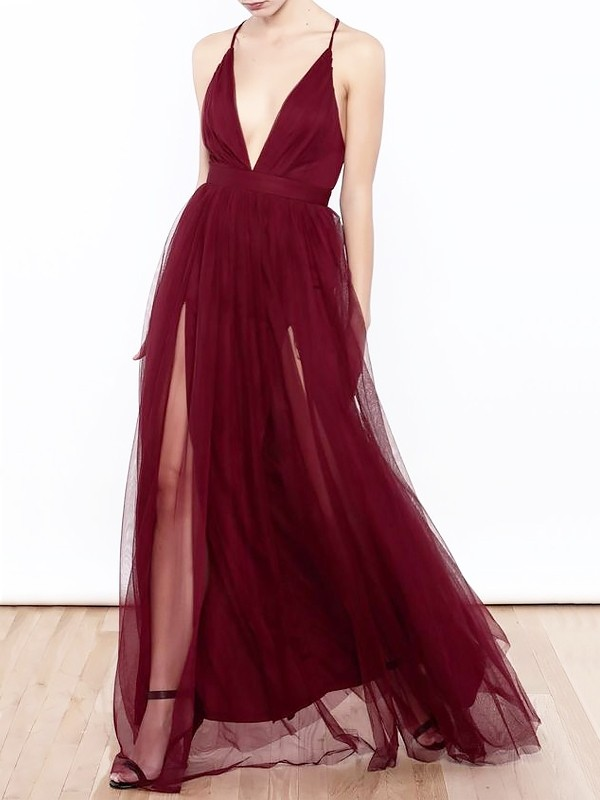 Delicate A-Line V-neck Cut Tulle Long Dresses With Ruffles