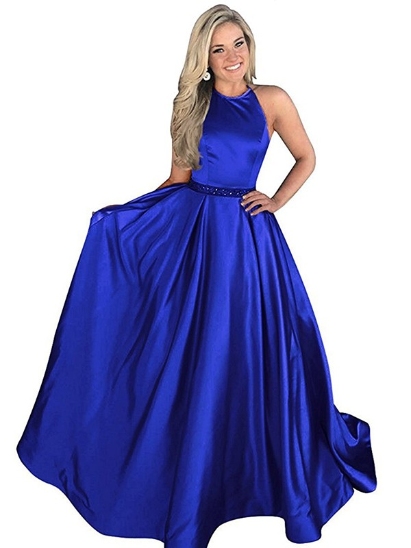Chic A-Line Halter Cut Satin Long Dresses With Beading