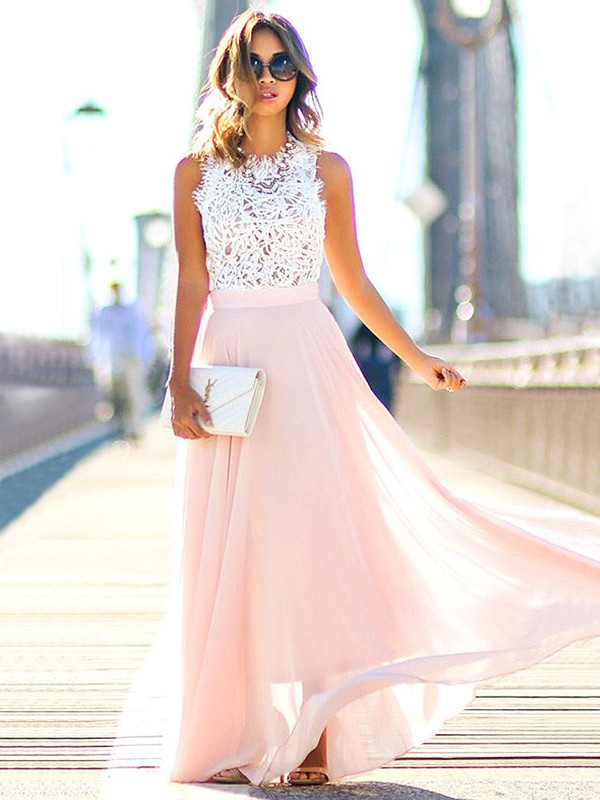 Sweet A-Line Jewel Cut Chiffon Long Dresses With Lace
