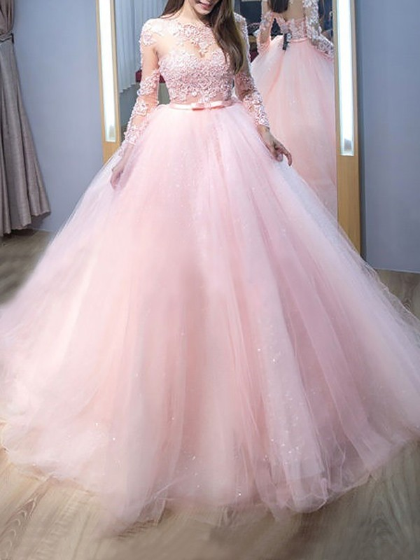 Hot Ball Gown Jewel Cut Tulle Long Dresses With Lace