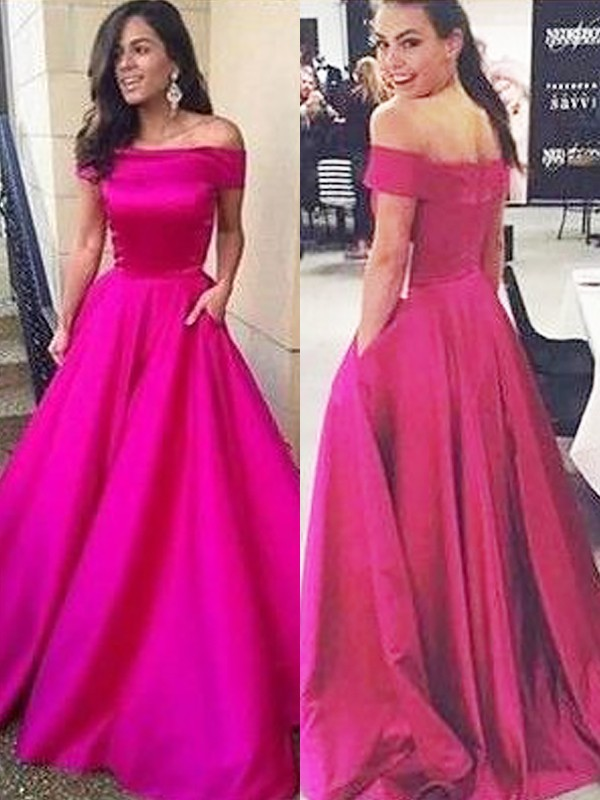 Popular A-Line Off-the-Shoulder Cut Satin Long Dresses With Ruffles