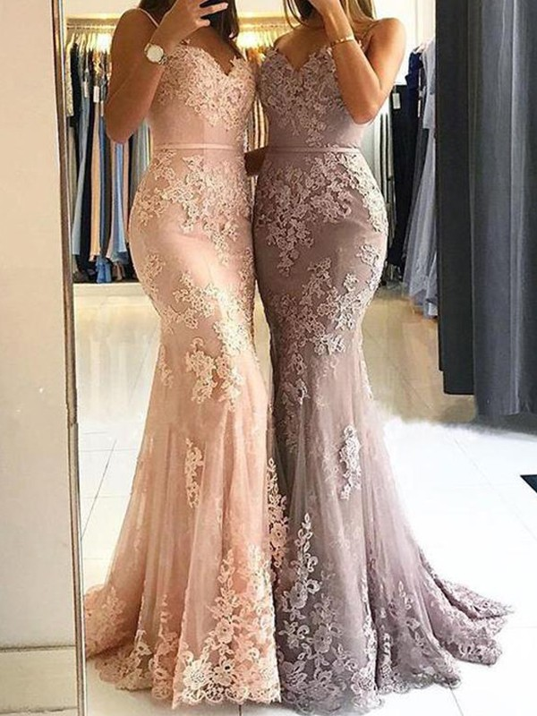 Awesome Sheath Spaghetti Straps Cut Tulle Long Dresses With Lace