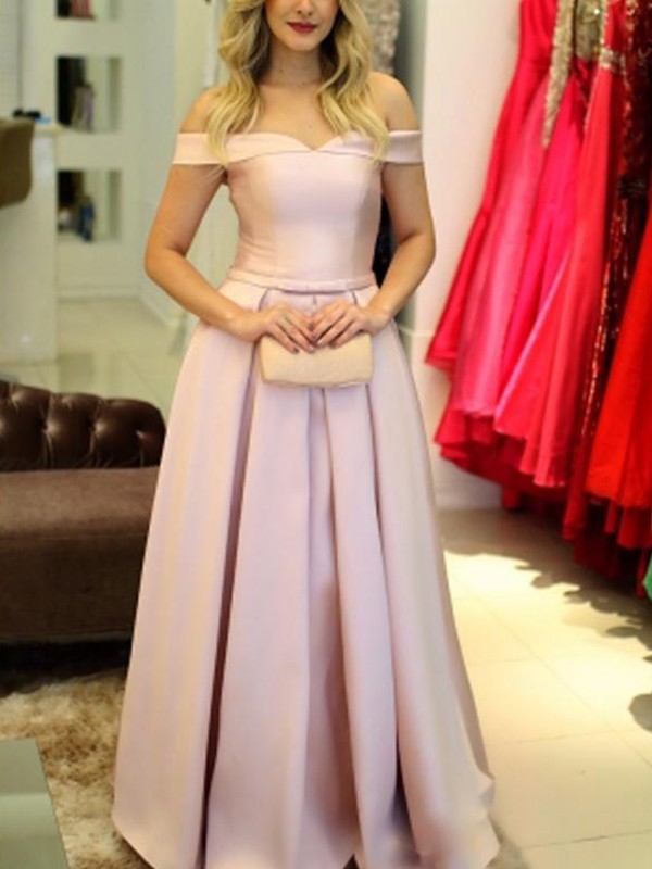 Amazing A-Line Off-the-Shoulder Cut Satin Long Dresses With Ruffles