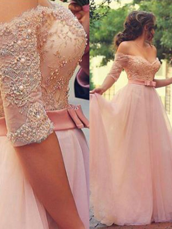 Stunning A-Line Off-the-Shoulder Cut Tulle Long Dresses With Lace