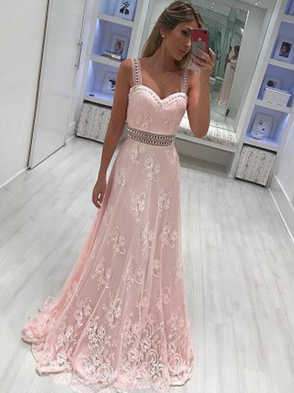 Romantic A-Line Sweetheart Cut Satin Long Dresses With Applique