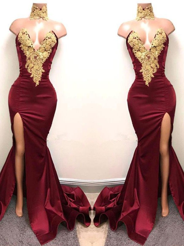 Brilliant Mermaid Sweetheart Cut Satin Long Dresses With Applique
