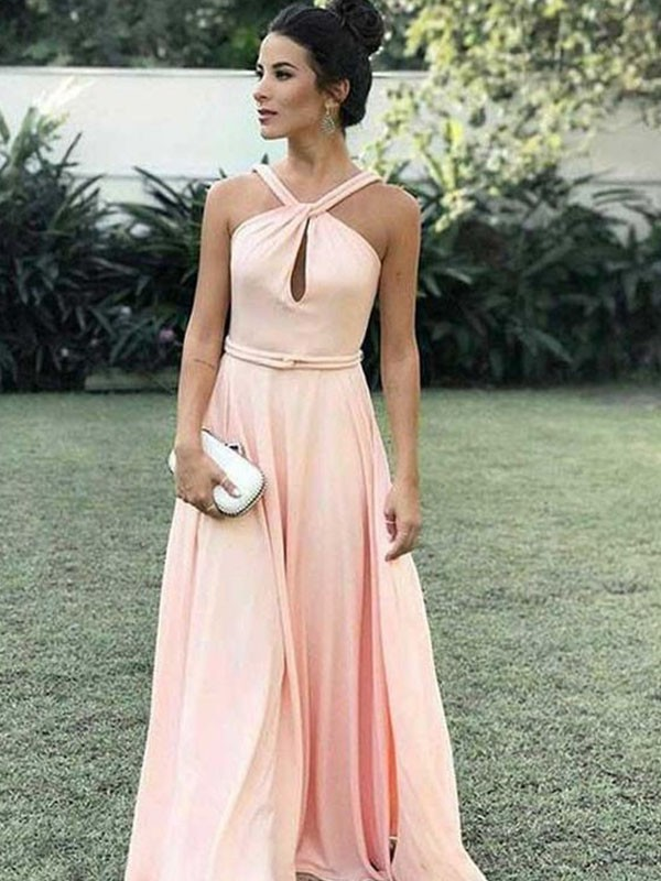 Stylish A-Line Halter Cut Chiffon Long Dresses With Ruffles
