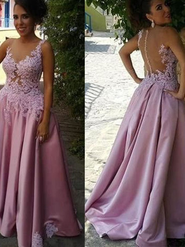 Gorgeous A-Line Sheer Neck Cut Satin Long Dresses With Applique