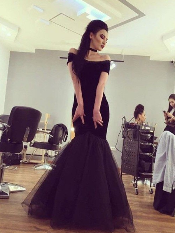 Awesome Mermaid Off-the-Shoulder Cut Tulle Long Dresses With Ruffles