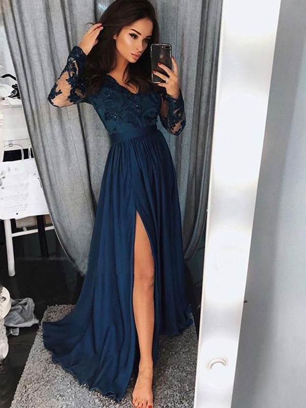 Strict Hes Bride Blue New Elegant Cocktail Dress Scoop Full Sleeves A-line Appliques Knee-length Party Formal Dresses Robe De Soiree Street Price Cocktail Dresses