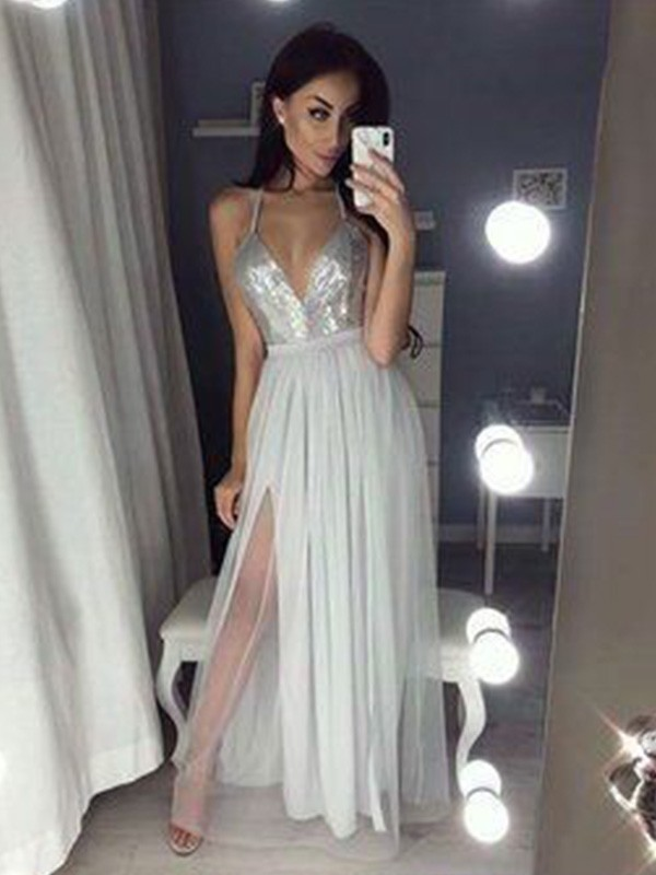Lovely A-Line V-neck Cut Chiffon Long Dresses With Beading
