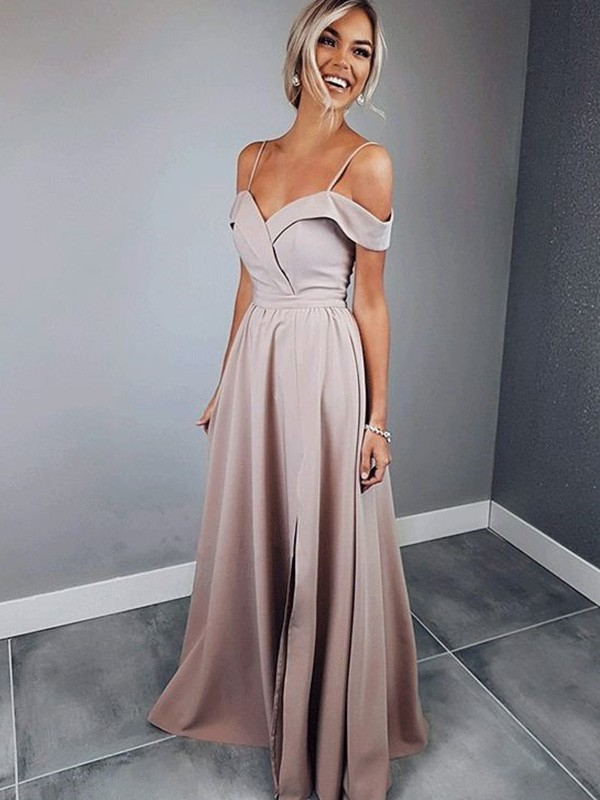 Attractive A-Line Spaghetti Straps Cut Satin Long Dresses With Ruffles