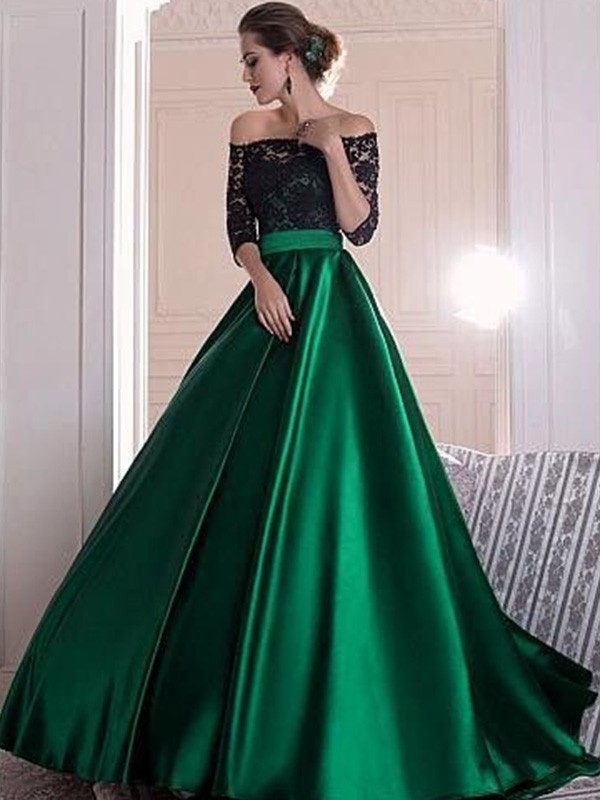 Dreamlike A-Line Off-the-Shoulder Cut Satin Long Dresses With Ruffles