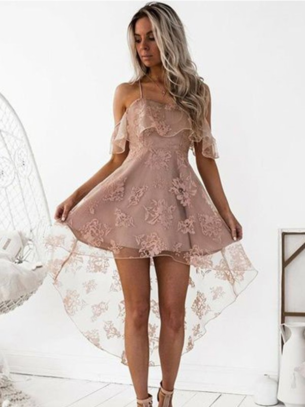 Glamorous A-Line Off-the-Shoulder Cut Satin Short Dresses With Lace