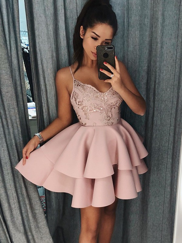 Gorgeous A-Line Spaghetti Straps Cut Satin Short Dresses With Pleats