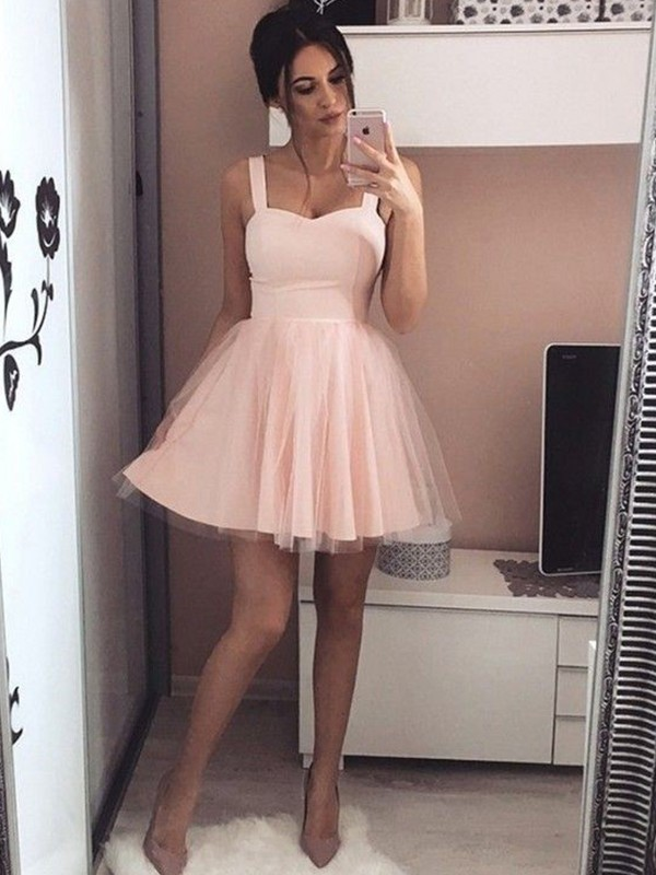 Stunning A-Line Straps Cut Satin Short Dresses With Ruched