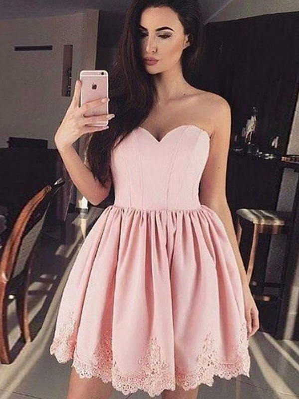Attractive A-Line Sweetheart Cut Satin Short Dresses With Lace