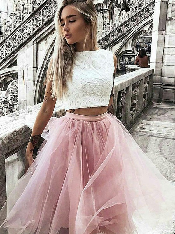 Brilliant A-Line Bateau Cut Tulle Short Two Piece Dresses With Lace