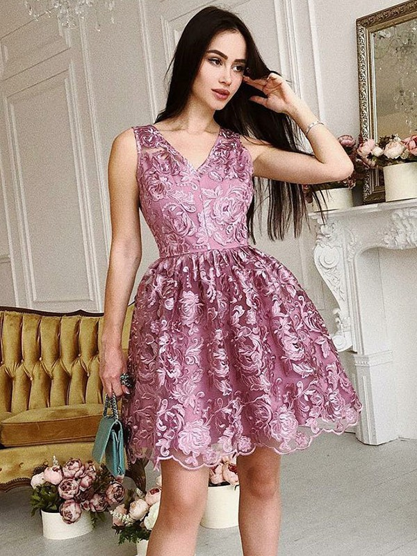 Soft A-Line V-neck Cut Organza Short Dresses With Ruched