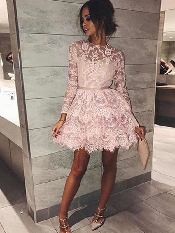 Unique A-Line Bateau Cut Lace Short Dresses With Beading