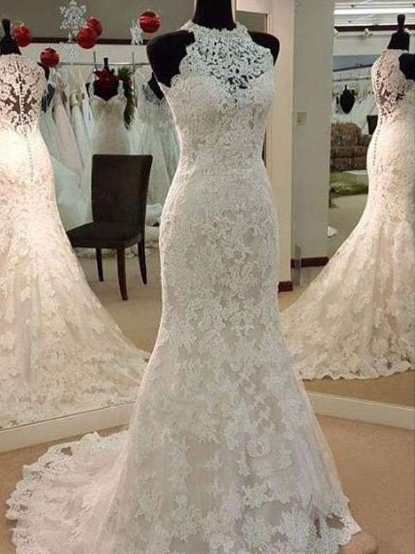 Fashional Sheath Scoop Cut Lace Long Wedding Dresses With Applique