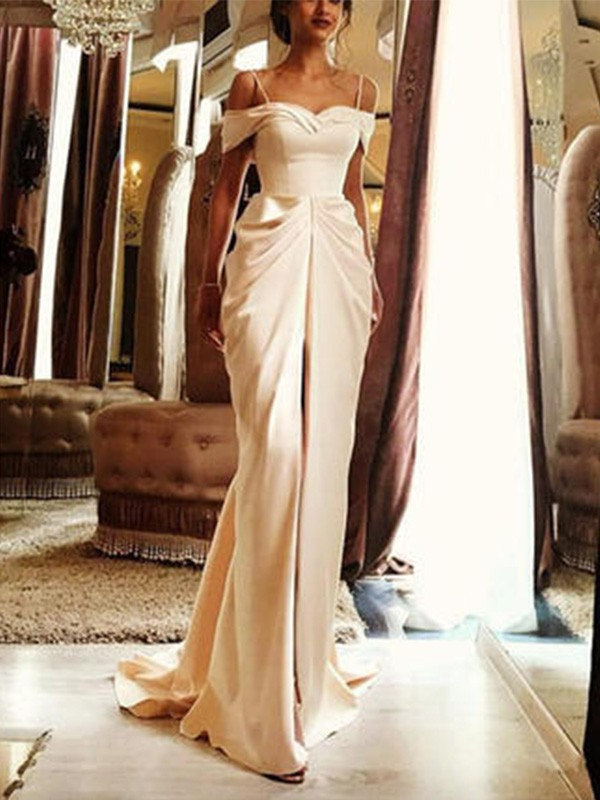 Attractive Sheath Off-the-Shoulder Cut Silk Like Satin Long Wedding Dresses With Ruffles