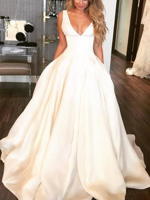 Delicate A-Line V-neck Cut Satin Long Wedding Dresses With Ruffles