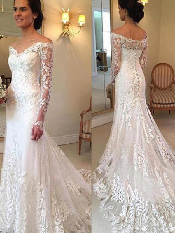 Radiant Mermaid Off-the-Shoulder Cut Lace Long Wedding Dresses With Applique