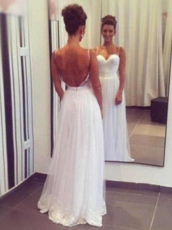 Chic A-Line Sweetheart Cut Tulle Long Wedding Dresses With Ruffles