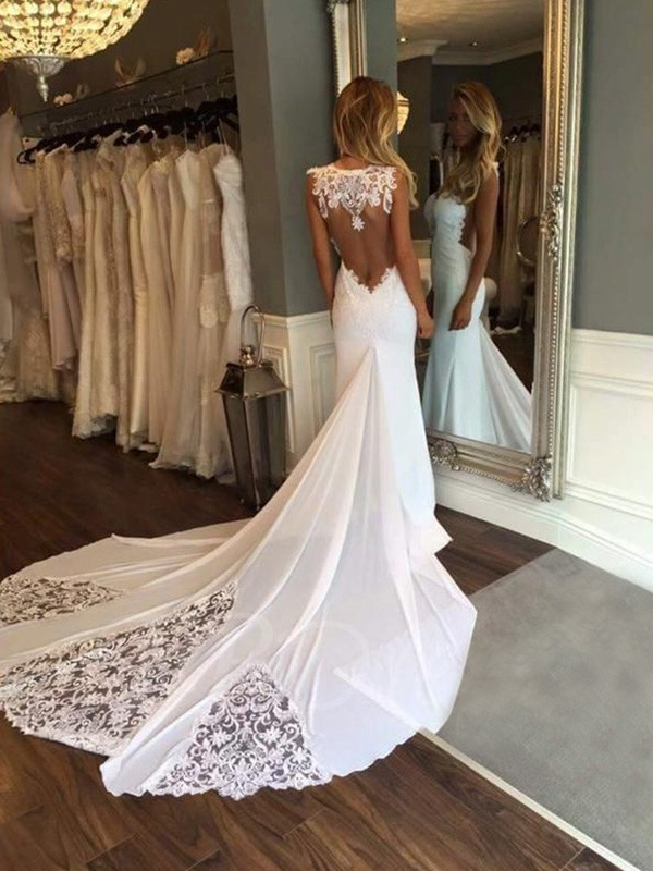Sweet Mermaid Sweetheart Cut Lace Long Wedding Dresses With Applique