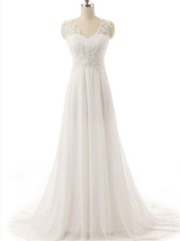 Stylish A-Line V-neck Cut Chiffon Long Wedding Dresses With Lace